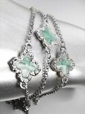 18kt White Gold Plated Chains Blue Enamel Clover Clovers CZ Crystals Bracelet
