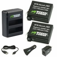 Wasabi Power HERO4 Battery (x2) for GoPro with Dual Charger, Car, Wall Adapters