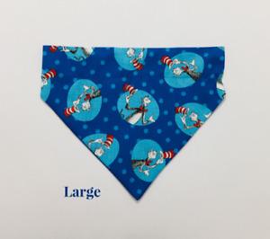 Dr. Seuss Cat in the Hat Blue Over Collar Slide On Pet Dog Cat Bandana Scarf