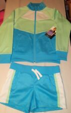Avia Girls Shorts Track Suit Set-7/8-Blue-Green
