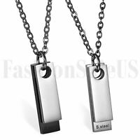 Minimalist Mens Stainless Steel Two-pieces Silver Black Dog Tag Pendant Necklace