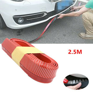 2.5M Racing Car Front Bumper Quick Lip Body Spoiler Skirt Red Rubber Protector