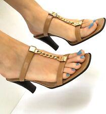 AK2 Anne Klein Golden Chains Leather High Heel Slip-on Sandals Shoes Size 9 M