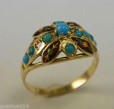 Antiker Damen - Ring mit echtem Türkis  / 585er 14 Karat Gold