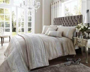 Latte & Silver Dallas Diamante Duvet Sets- matching throws, cushions & curtains