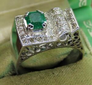 1.8Ct Emerald 14K White Gold Men's Solitaire Wide Band Engagement & Wedding Ring