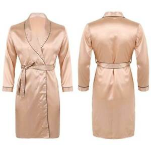 Men's Silk Satin Long Robes Bathrobe Nightgown Pajamas Casual Sleepwear Kimono