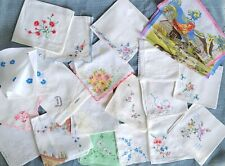 21 Vintage hand Embroidered handkerchiefs hankies lot
