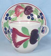 Antique Virginia Spongeware Cup Saucer Red Blue Purple Flowers Cut Sponge 4 AsIs