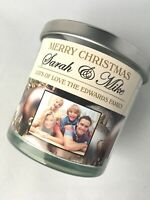 Personalised Photo Christmas Candle Label Sticker Gift for Friend, Mum, Sister.