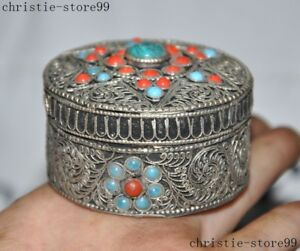 Old Tibet Tibetan silver wire Inlay turquoise Red Coral gem rouge Box Boxs