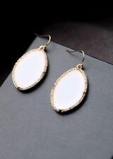 Boucles d'Oreilles Art Deco Ovale Simple Blanc Original Soirée Mariage CC 3