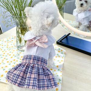 Cute Pet Dog Dress Clothes Pink Plaid Bow Skirt Cat Puppy Dresses Costume Poodle
