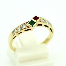 585er 15kt Gelbgold Ring mit einem Smaragd, Rubin und 6 Brillanten
