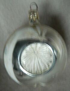 🔥 Antique Round 3-Indents in Ball Silver/White German Glass Christmas Ornament