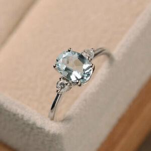 1.70 Ct Aquamarine Diamond Engagement Ring 14K Solid White Gold Size M N O P Q