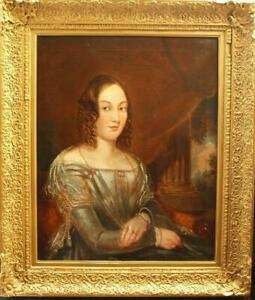 LARGE 19th CENTURY PORTRAIT YOUNG LADY VIEW SKYLINE BEYOND Antique Oil Painting
