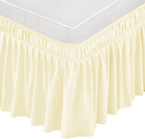 Wrap Around Bed Skirt Dust Ruffle Queen King Twin Full Size Soft Elastic 15 INCH