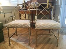 SUPERB Pair Faux Bamboo Chairs Chinese Chippendale Gilt Iron
