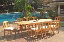 """9pc Grade-A Teak Dining Set 122"""" Caranas Rectangle Table Osborne Armless Chair"""