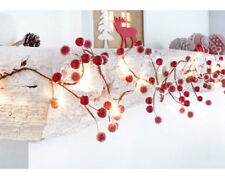 BATTERY OPERATED CHRISTMAS FROSTED BERRIES LIGHT UP GARLAND WITH 20 LEDs - NEW