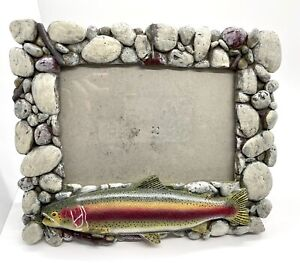 "River's Edge Products Rainbow Trout Rocks Picture Frame 4""X 6"" Hang or Stand"