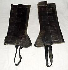 "Derby Originals Charcoal Suede Western Working Half Leg Chaps 15"" High Size S"
