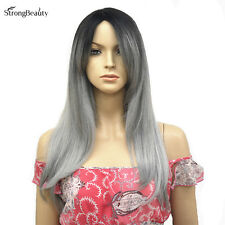 Ombre Two tone Kanekalon Synthetic Long Straight Silver Grey Hair Wigs for Women