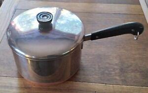 Vtg Revere Ware 4 QT Quart Sauce Pan Pot Copper Clad Bottom +Lid Pre-1968 Patent