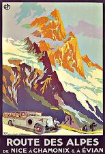 L'ARTE Annuncio ROUTE DES ALPES Nizza CHAMONIX 1920 Viaggi Deco Poster stampati