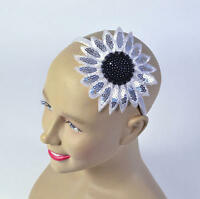White Sunflower Headband Hippy Hippie 70S Chick Flower Power Fancy Dress