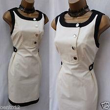 Karen Millen DL057 Black Ivory Sixties Contrast Shift Office Party Dress 12 UK