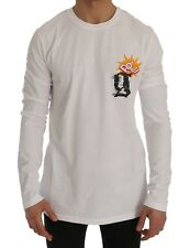 NEW $300 GALLIANO T-shirt Sweater White Motive POW Long Sleeve Crew-neck s. XL