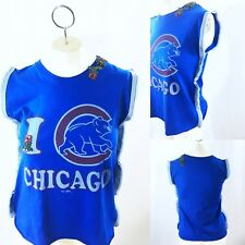 Chicago Cubs Trim Edge Tank Top Shirt Upcycled One Of A Kind Size Small