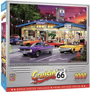 Cruisin' Route 66 PITSTOP CLASSIC CARS 1000 Piece Jigsaw Puzzle New