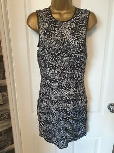 H&M Snake Print ruched lined mini Dress light padded bust size 10.vgc