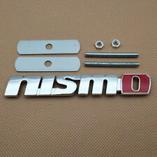 Car Emblem 3D Silver With Red NISMO Logo Metal Sports Front Grille Auto Badge