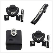 4pcs Fashion Womens Lady Necklace Bracelet Ring Earrings Jewellery Sets RF
