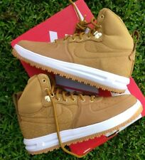 10 MEN'S Nike Lunar Force 1 Sneakerboot Wheat Gold White 654481 700 BROWN