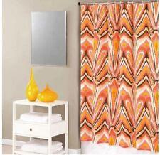 Trina Turk Peacock Punch Orange Pink Retro Print Cotton Bathroom Shower Curtain