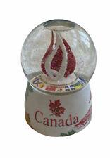 Sankyo Musical O Canada Goose Snow Globe Rotating Maple Leaf Flags