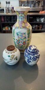 3 chinese oriental pottery ceramic vintage pots , vase , lidded ginger jar jars