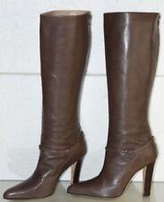 NEW Manolo Blahnik MIRDA 105 Knee High Boots Taupe Grey Brown Leatrher Shoe 39.5