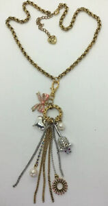 """BETSY JOHNSON RARE Mouse Bow Charm Heart  Crystal Pearl Anti Gold 17"""" Necklace"""