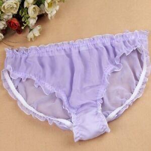 Womens 100% Silk Ruffle Sexy Bikinis Briefs Soft Panties Knickers Underpanties