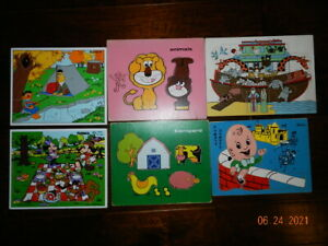 Lot Of 6 Vintage Childrens Wooden PuzzlesSifoplayskool CMI noahs ark unbranded