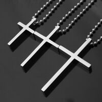 Fashion Silver Polished Men Stainless Steel Cross Pendant Necklace Ball Chain