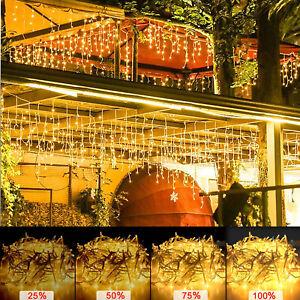 200/400/600 LEDs Eisregen Lichterkette Vorhang Außen Eiszapfen Warmweiß 8 Modi