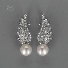 White Pearl Freshwater CZ 925 Sterling Silver Stud Earrings 01085 Wing hook up