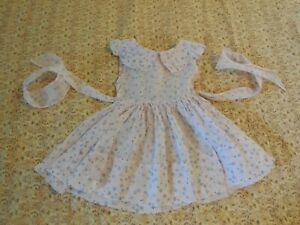 Vintage Little Girl's Dress Sheer Pink with Blue Flowers Sash Large Collar